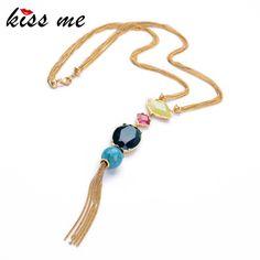 Kiss me mode-sieraden elegante goud kleur kralen lange hanger ketting vrouwen fabriek groothandel