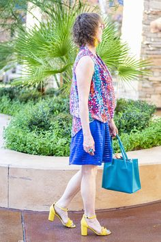 Styling a yellow sandals outfit Yellow Sandals, Yellow Heels, Bright Shoes, Colorful Shoes, Blue Dresses For Women, Imperfection Is Beauty, Sandals Outfit, Layered Tops, Blue Tops