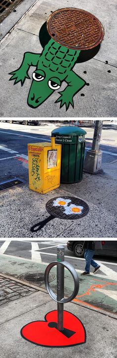 Artist Tom Bob has been running around the streets of New York and Massachusetts, installing his clever street art on common elements in the urban landscape.