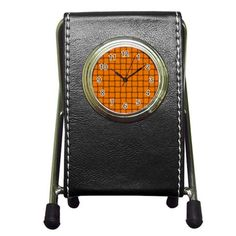 Orange Weave Stationery Holder Clock