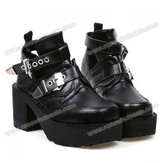 Casual Women's Boots With Buckle and Square Toe Design