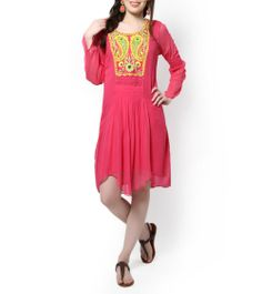 Hot Pink Embroidered Tunic