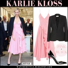 Karlie Kloss in pink ruffled midi dress alex perry and black blazer #model #style #cocktail #party #event #outfit #celebrity #fashion