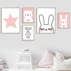 Rabbit Bear Star Dream Big Quotes Wall Art Canvas Painting Nordic Posters And Prints Cartoon Wall Pictures Baby Kids Room Decor Kids Room Murals, Kids Room Wall Art, Home Decor Wall Art, Nursery Wall Art, Room Decor, Canvas Picture Walls, Canvas Wall Art, Images Murales, Deer Nursery