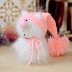 Cat White in Pink Hat Hand-Knitted Miniature cat Amigurumi Pet Kitten Animals cat knitted animals stuffed cats Valentine's decor doll by MiracleStore on Etsy