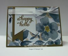 A Happy Hello from the Stampin' Up! Tin of Cards stamp set, teamed up with the English Garden Designer Series Paper. Quick & Easy card to make! Details can be found on my blog:  http://lindasstampinescape.com