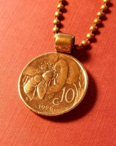 """coin jewelry, honey bee. italian coin, necklace, 24"""" chain"""
