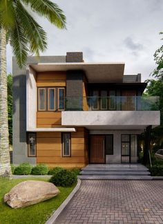 Bungalow house design - DNAArchitectsNDesigners created this image for ( Punalur, Kerala ) render renderfiles allofrenders rendering fachada Modern Exterior House Designs, Modern Small House Design, Minimalist House Design, Dream House Exterior, Modern Architecture House, Modern House Plans, Home Exterior Design, Small Modern Houses, Narrow House Designs