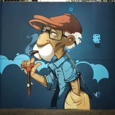 by Hombre in Waldaschaff, Germany, 4/15 (LP) Best Graffiti, Banksy Graffiti, Graffiti Wall Art, Graffiti Artists, Amazing Street Art, 3d Street Art, Street Art Graffiti, Illusion, Graffiti Characters