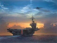 Beautiful view of an aircraft carrier