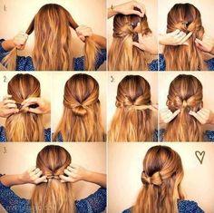 A nice alternative to the full bow bun. We'll see if my hair cooperates. Pretty Hairstyles, Cute Hairstyles, Wedding Hairstyles, Romantic Hairstyles, Braided Hairstyles, About Hair, Hair Day, Girl Hair, Hair Hacks