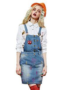 Spring Cute Embroidered Bleached Denim Suspender Skirt Blue