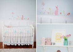 Such a sweet nursery! Love how simple it is! This reminds me of my room when I was a little girl. My mother and I painted pink bunnies On the furniture. Very vintage #pinparty