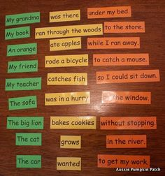 I thought this would be a fun thing to encourage reading, etc. Sentence fragments are colored coded and interchangeable. Add pictures? Kids love making silly things.