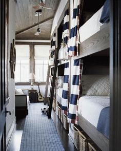 thin rug, storage baskets under bunks. bunk-room-traditional-home A Thoughtful Place, Bunk Beds Built In, Mini Loft, Bunk Rooms, Bunk Bed Designs, White Rooms, My New Room, Coastal Living, Traditional House