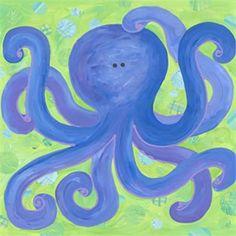 Indigo Octopus Canvas Reproduction