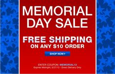 Avon Free Shipping on any 10 dollar order all weekend long! Expires midnight 5/27/13 -  Use Avon coupon code: MEMORIAL13 at http://eseagren.avonrepresentative.com