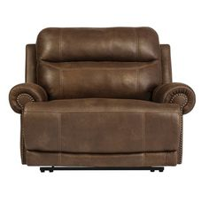 """While minimizing space requirements and sparing that """"puffy"""" look you might expect from a recliner, this zero wall recliner doesn't hold back when it comes to contemporary style. Subtle touches such as sporty jumbo stitching, nail head trim and a """"weather worn"""" effect on the upholstery give this handsome piece a buttoned-up appeal and fresh feel."""