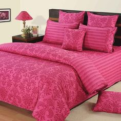 Swayam Paradise Floral Printed Bed Set Magenta - This magenta colored bed set with floral design is a great addition to your bed room. It comes in 1 piece and is apt for a single bed. The duvet cover is made of cotton and is machine washable. Luxury Furniture, Cool Furniture, Comforter Sets, Duvet, Bedroom Sets, Bedroom Decor, Magenta, Barbie Bedroom, Fitted Bed Sheets