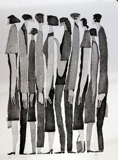 I stumbled across this lovely Japanese artist, Aoki Tetsuo and was immediately taken by these curious and elongated figures.