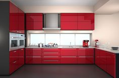 Tips for design smart kitchen interior! With these tips, you can be careful in planning your kitchen. You need to know your requirements. Kitchen Cabinet Makers, Kitchen Cabinets Parts, Red Cabinets, Kitchen Cabinet Knobs, Cabinet Decor, Kitchen Cabinet Design, Kitchen Designs, Kitchen Appliances, Modern Kitchen Interiors