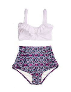 White Top and Purple Ruched High Waist Waisted Vintage Retro style Shorts Bottom Swimsuit Swimsuits Swimwear Bathing suit Swim costume S M on Etsy, $44.19 CAD