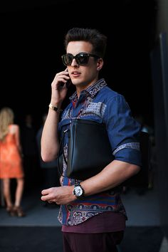 The Sartorialist at Prada. Really need to know where these beautiful shirts come from.