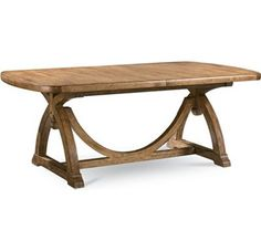 """Reinventions - Pacific Trestle Dining Table with weathered finish.  45.5""""W X 80"""" long, adds one 24"""" leaf for total 104""""."""