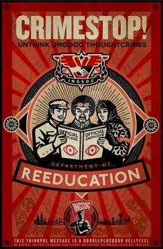 'Crimestop 1984 Propaganda Poster' Photographic Print by LibertyManiacs George Orwell, Winston Smith, Pop Art, Nineteen Eighty Four, Propaganda Art, The Victim, Vintage Posters, Street Art, Painting
