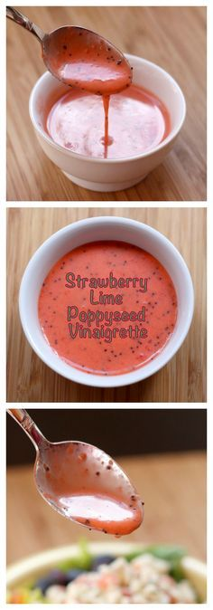 Strawberry Lime Poppy Seed Salad Dressing Strawberry Lime Poppyseed Vinaigrette – find out how easy it is to make this homemade salad dressing that is sweet, tangy and so good with fresh strawberries. Gluten Free Salad Dressing, Salad Dressing Recipes, Salad Recipes, Avocado Recipes, Think Food, Love Food, Vinaigrette Sans Gluten, Vegan Recipes, Cooking Recipes