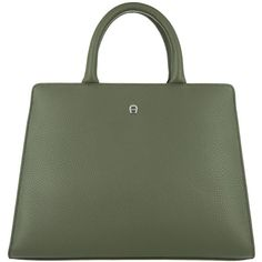 Aigner Handle Bag - Cybill S City Tote Olive Green - in green - Handle... (2.665 RON) ❤ liked on Polyvore featuring bags, handbags, tote bags, green, olive green tote bag, leather purses, zip tote, olive green purse and zippered tote bag