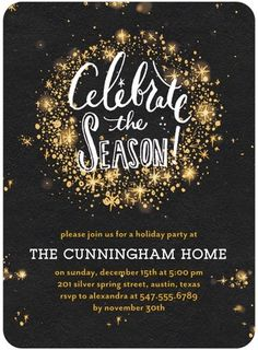 Sparkling bursts make this holiday party invitation a winner! #TinyPrintsCheer