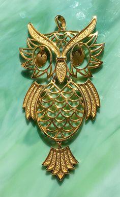 Owl Pendant | Owl Necklace | Owl Jewelry | Bird Pendant Necklace | Bird Jewelry | Gift for Her | Animal Jewelry | Vintage Jewelry by FigurallySpeaking on Etsy