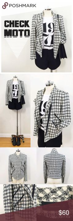 •ZARA• black and white check moto jacket blazer Check black and white moto style jacket.  Has asymmetrical zip front that can be zipped up for a cold night or half way down.  Has 4 zip pockets at the front.  Some seams have a frayed detail.  Visible zips at the wrist on the sleeves.  Fully lined.  Pair with some black shorts and a graphic tee.  Dry clean only. Zara Jackets & Coats Blazers