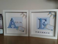 YOU ARE BUYING A 10 X 10 SCRABBLE ART FRAME IN WHITE LOVINGLY HANDMADE WITH GREAT CARE AND ATTENTION TO DETAIL. WITH A HAND PAINTED BLUE INITIAL CHOICE AND NAME IN WHITE SCRABBLE TILES. A PERSONALISED TAG WITH YOUR CHOICE OF WORDS HAS BEEN ADDED THIS COULD BE FOR A BIRTHDAY, CHRISTENING OR NEW BABY OR JUST FOR A ROOM DECORATION DIFFERENT BACKGROUNDS ARE AVAILABLE PLEASE ASK. THE STRIPE BACKGROUND PICTURED IS NOT AVAILABLE...I DO HAVE ANOTHER STRIPE WHICH IS SLIGHTLY DARKER OR PLEASE CHOOSE…