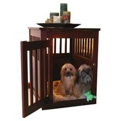 End Table Dog Crate in Mahogany II