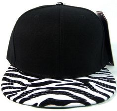 Black   white animal print snapback hat cap flat bill tiger zebra leopard  faux ab9b2eed14c7