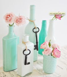 easy painting tutorial to repurpose bottles for your wedding decor