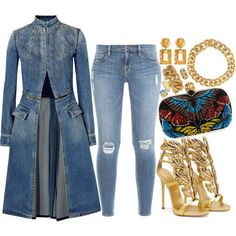 A fashion look from July 2016 featuring Alexander McQueen coats, Frame jeans and Alexander McQueen clutches. Browse and shop related looks. Denim Fashion, Love Fashion, Autumn Fashion, Fashion Looks, Womens Fashion, Classy Outfits, Stylish Outfits, Mode Outfits, Fall Outfits