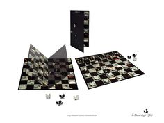 """Draughts game composed of a printed card chessboard plus 24 two-tone card pieces. The folding board reproduces a detail of the flowery meadow from Botticelli's """"Primavera"""", computer processed to achieve the alternation of dark and pale squares. The game's pieces are obtained by raising the """"leaves"""" of the 2-dimensional 4-leaf clover-shaped cards so as to have 12 dark and 12 light artificial flowers.  Designed by Alessandro Loschiavo and Samantha Acciuffi for Galleria degli Uffizi, Florence."""