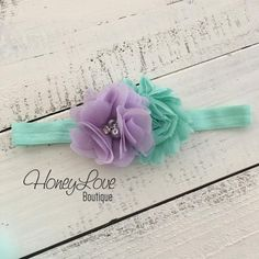 Mint/Aqua and Lavender Purple shabby flower rhinestone pearl headband hair bow, head band pearls newborn infant toddler little baby girl by HoneyLove Boutique