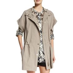 Vince Short-Sleeve Hooded Anorak Jacket ($395) ❤ liked on Polyvore featuring outerwear, jackets, dune, hooded anorak, hooded anorak jacket, collar jacket, evening jacket and short sleeve jacket