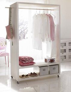 If you are feeling creative and crafty, just find a solid big branch, spray it white, and hang it on the ceiling, and you'll get a super gorgeous and unique clothes rack. Description from rilane.com. I searched for this on bing.com/images