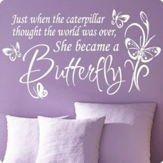 Wall Quote Decals for girls bedroom---decorate and spice up your little girl& bedroom with these cute wall quotes and sayings. Also featured. Purple Bedroom Decor, Girls Bedroom, Bedroom Ideas, Bedroom Wall, Master Bedroom, Kid Bedrooms, Baby Girl Nursery Bedding, Nursery Room, White Nursery
