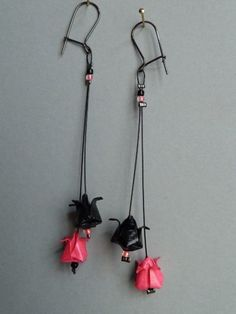 Lotus flower origami earrings!