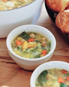 Hearty Winter-Vegetable Soup | Martha Stewart Living - On a chilly day, this rustic soup -- made with potatoes, leeks, butternut squash, and escarole -- will warm you right up. Serve it with our Popovers.