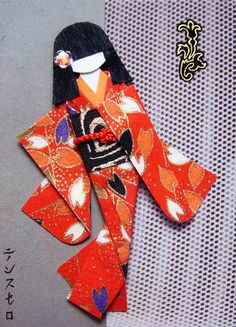 handmade card: Modern geisha 2 by tengds, via Flickr ... like all of the details like the hair ornament ... beautiful papers too....