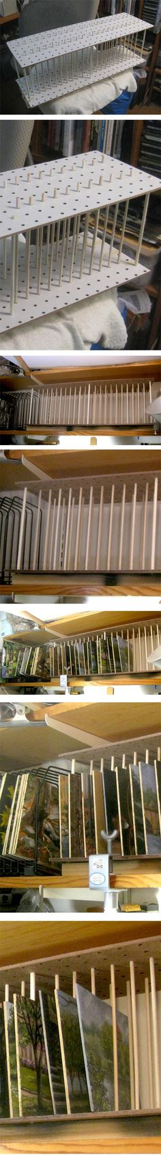 diy painting storage rack (peg board and dowels) http://linesandcolors.com/2014/03/15/a-simple-diy-drying-rack-for-plein-air-panels-and-small-paintings/