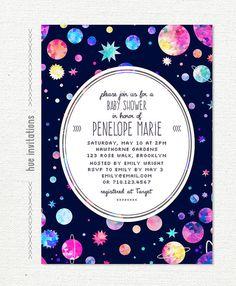 space themed baby shower invitation, modern girls baby shower, planets stars watercolor galaxy baby girl, 5x7 jpg pdf 485