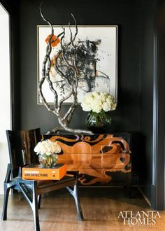 Sensational Style | Love the Octopus painted on the chest! As well as the chair, art, and the branch... a lovely vignette .